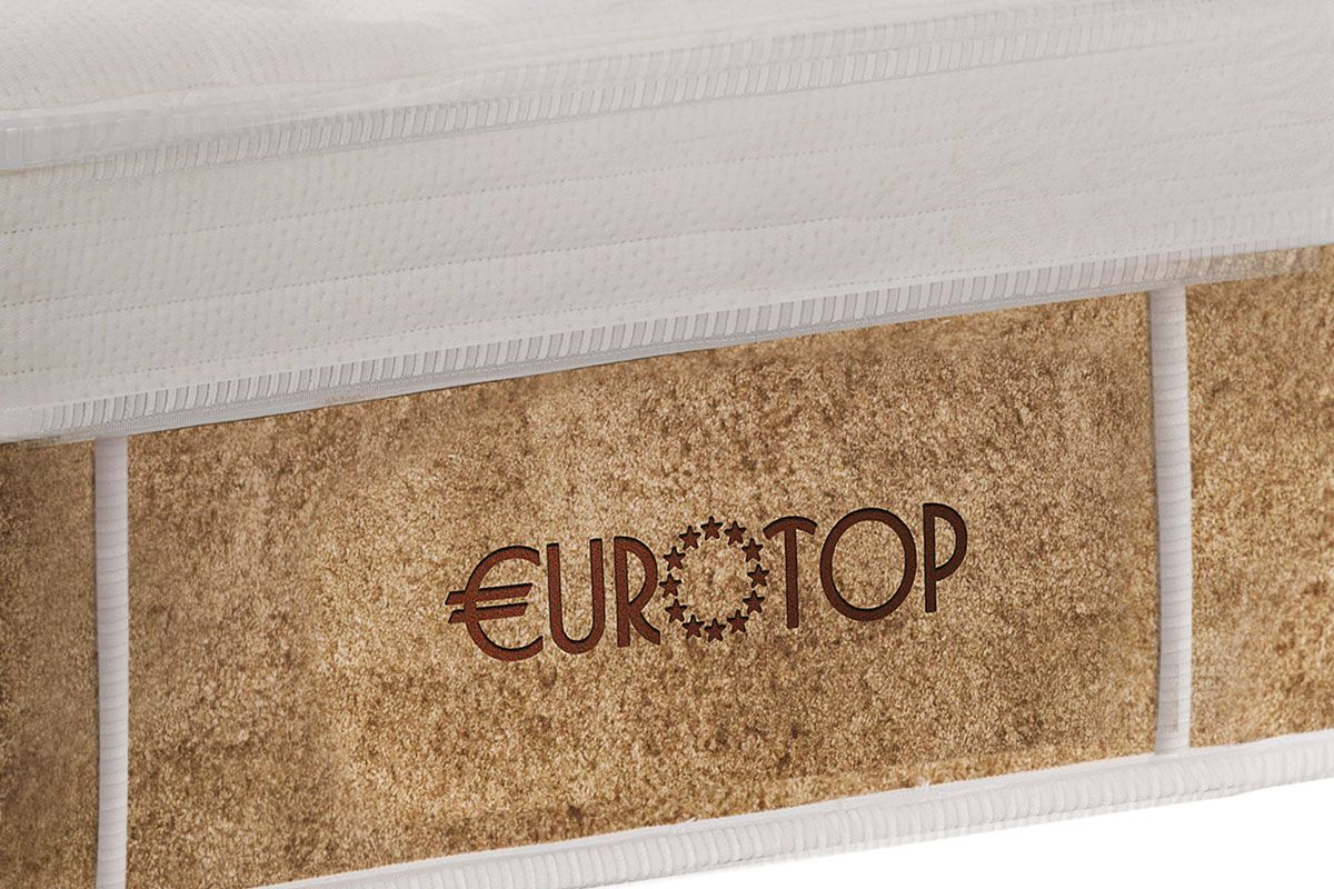 Conjunto Box: Colchão Castor Pocket Eurotop New Boucle Plush + Cama Nobuck Rosolare Café