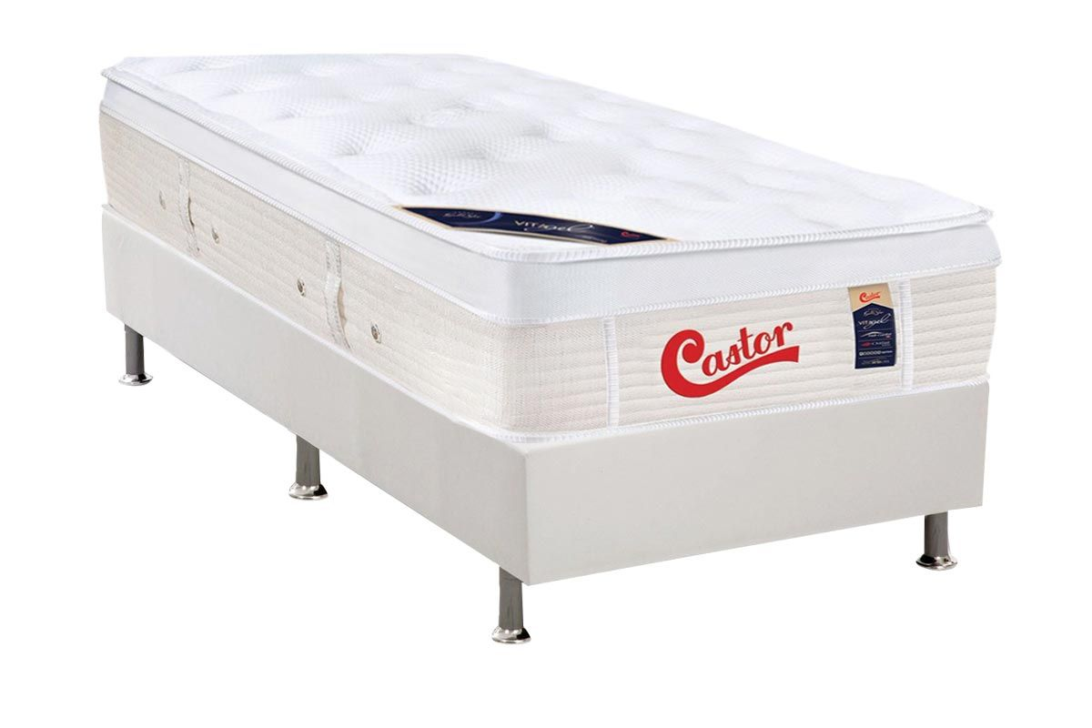 Conjunto Box: Colchão Castor Molas Pocket Gold Star Vitagel + Cama Box Courino White