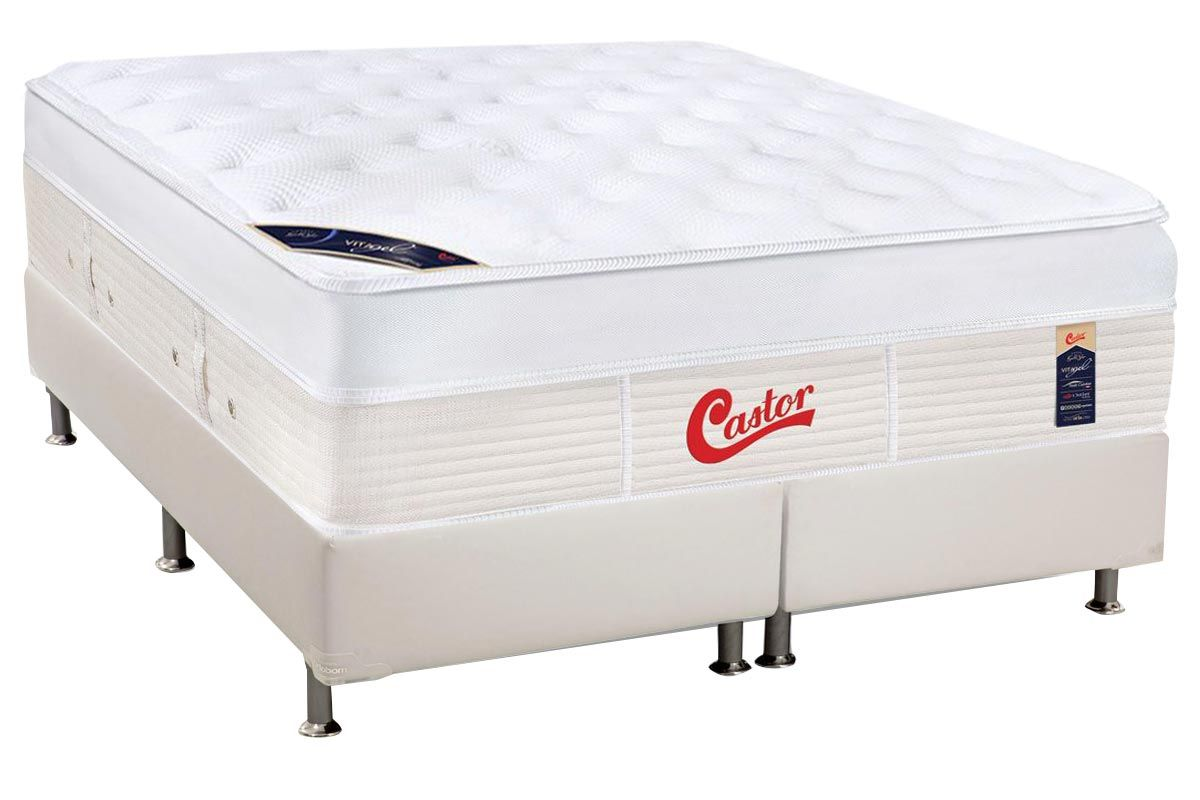 Conjunto Cama Box - Colchão Castor Pocket Gold Star Vitagel Max + Cama Box Courino White