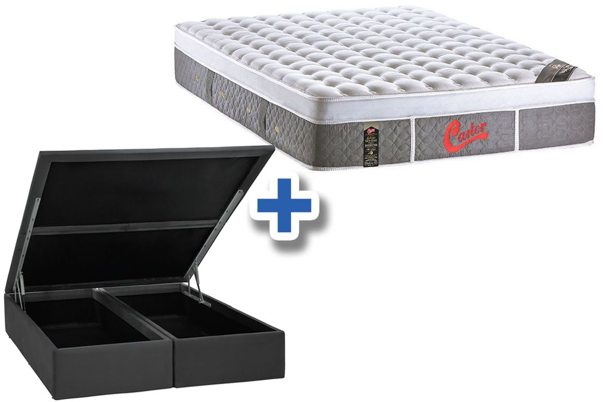 Conjunto Box Baú - Colchão Castor de Molas Pocket Light Stress Oxygen New Plush Visco + Cama Box Baú Nobuck Cinza