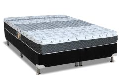 Conjunto Cama Box - Colchão Castor de Molas Bonnel Class New One Face + Cama Box Universal Nobuck Nero Black