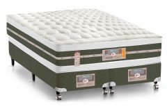 Conjunto Box - Colchão Castor Molas Bonnel Silver Star Air Double Face + Cama Box Universal Courino White