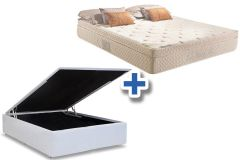 Conjunto Cama Box Baú- Colchão Herval de Molas Pocket Euro Bambu Plus Euro Pillow + Cama Box Baú Courino White