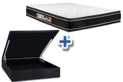 Conjunto Box Baú - Colchão Castor Espuma D33 Black e White AIR Double Face + Cama Box Baú Nobuck Black